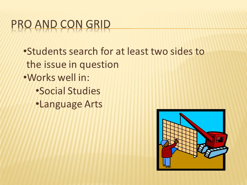 Students search for at least two sides to the issue in question Works well in: Social Studies Language Arts