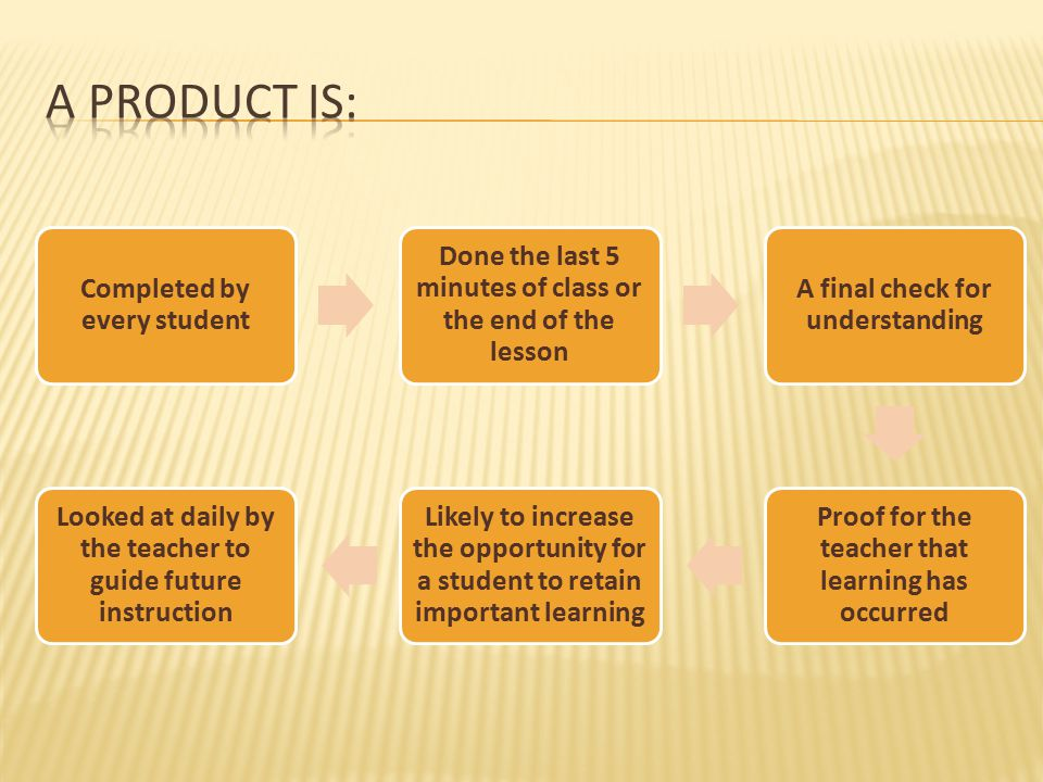 Completed by every student Done the last 5 minutes of class or the end of the lesson A final check for understanding Proof for the teacher that learni