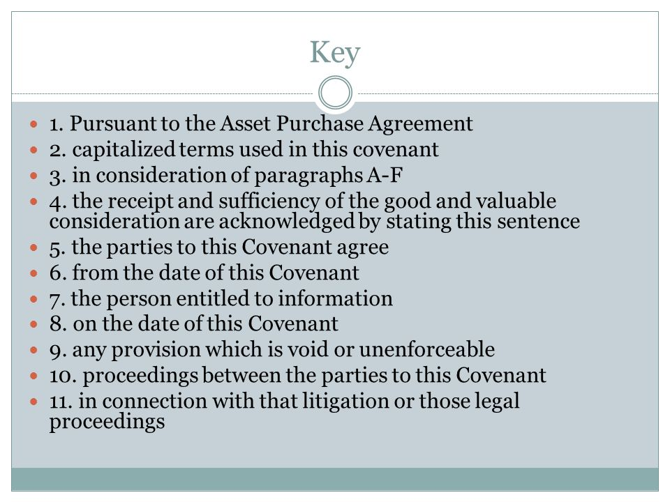 Key 1. Pursuant to the Asset Purchase Agreement 2. capitalized terms used in this covenant 3. in consideration of paragraphs A-F 4. the receipt and su
