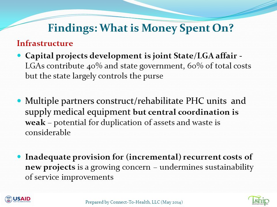 Findings: What is Money Spent On? Infrastructure Capital projects development is joint State/LGA affair - LGAs contribute 40% and state government, 60