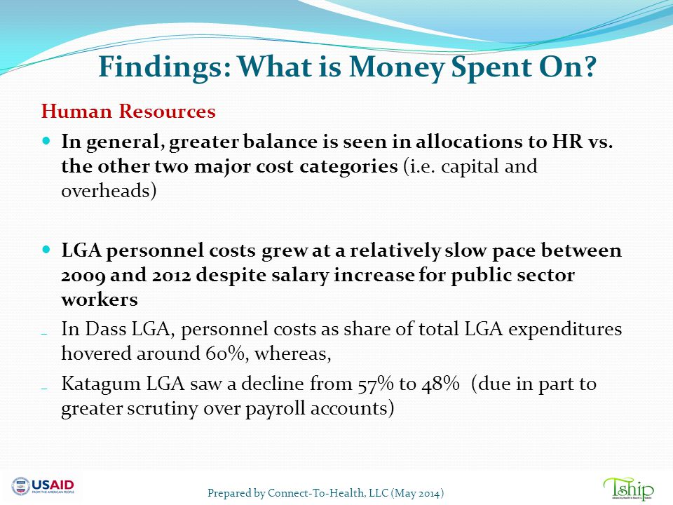 Findings: What is Money Spent On? Human Resources In general, greater balance is seen in allocations to HR vs. the other two major cost categories (i.