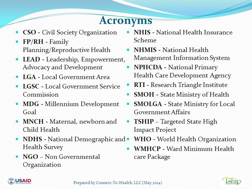 Acronyms CSO - Civil Society Organization FP/RH - Family Planning/Reproductive Health LEAD - Leadership, Empowerment, Advocacy and Development LGA - L