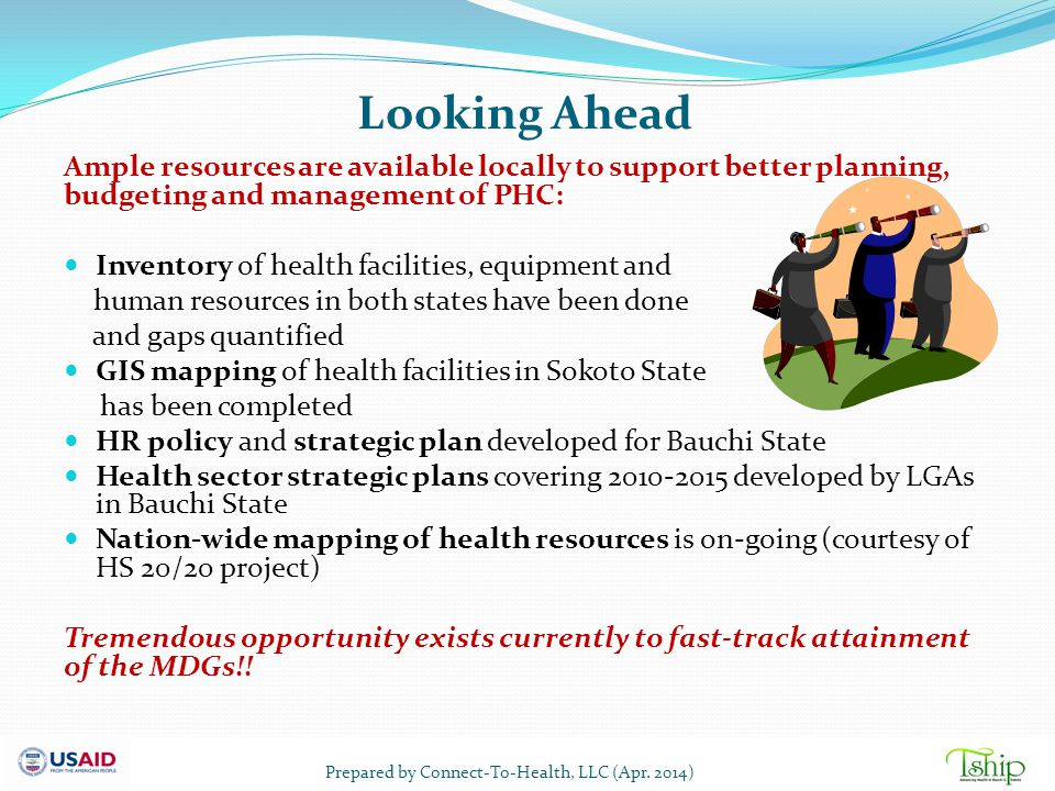 Looking Ahead Ample resources are available locally to support better planning, budgeting and management of PHC: Inventory of health facilities, equip