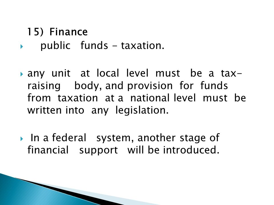 15) Finance  public funds - taxation.