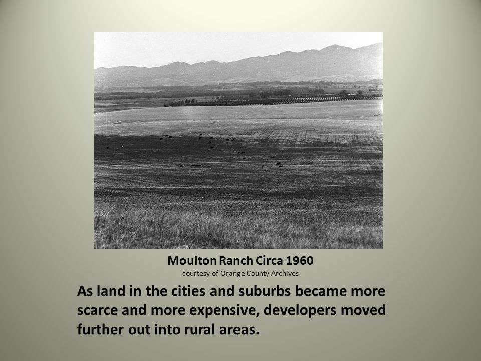 As land in the cities and suburbs became more scarce and more expensive, developers moved further out into rural areas.