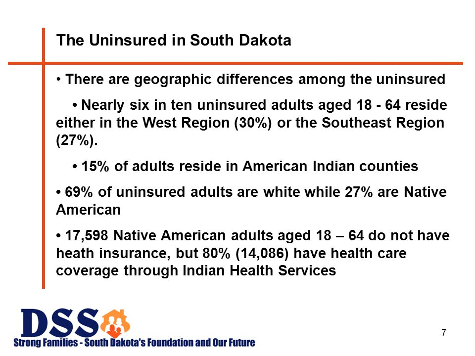 7 The Uninsured in South Dakota There are geographic differences among the uninsured Nearly six in ten uninsured adults aged 18 - 64 reside either in the West Region (30%) or the Southeast Region (27%).