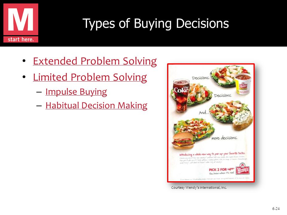 6-24 Types of Buying Decisions Extended Problem Solving Limited Problem Solving – Impulse Buying Impulse Buying – Habitual Decision Making Habitual Decision Making Courtesy Wendy's International, Inc.