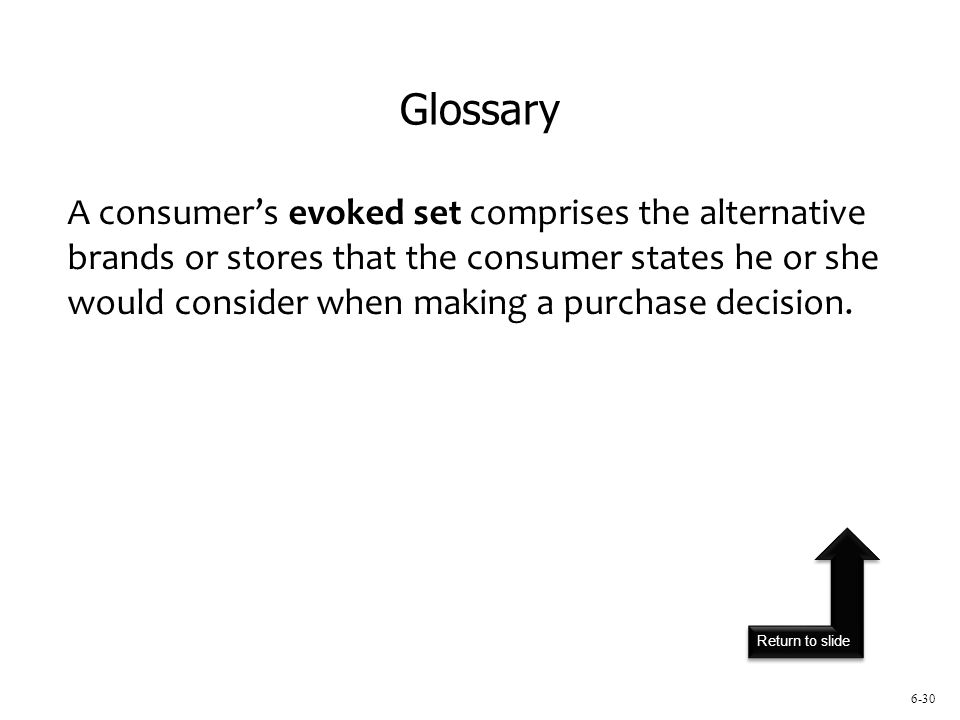 Return to slide 6-30 A consumer's evoked set comprises the alternative brands or stores that the consumer states he or she would consider when making a purchase decision.