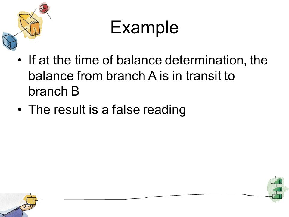 If at the time of balance determination, the balance from branch A is in transit to branch B The result is a false reading