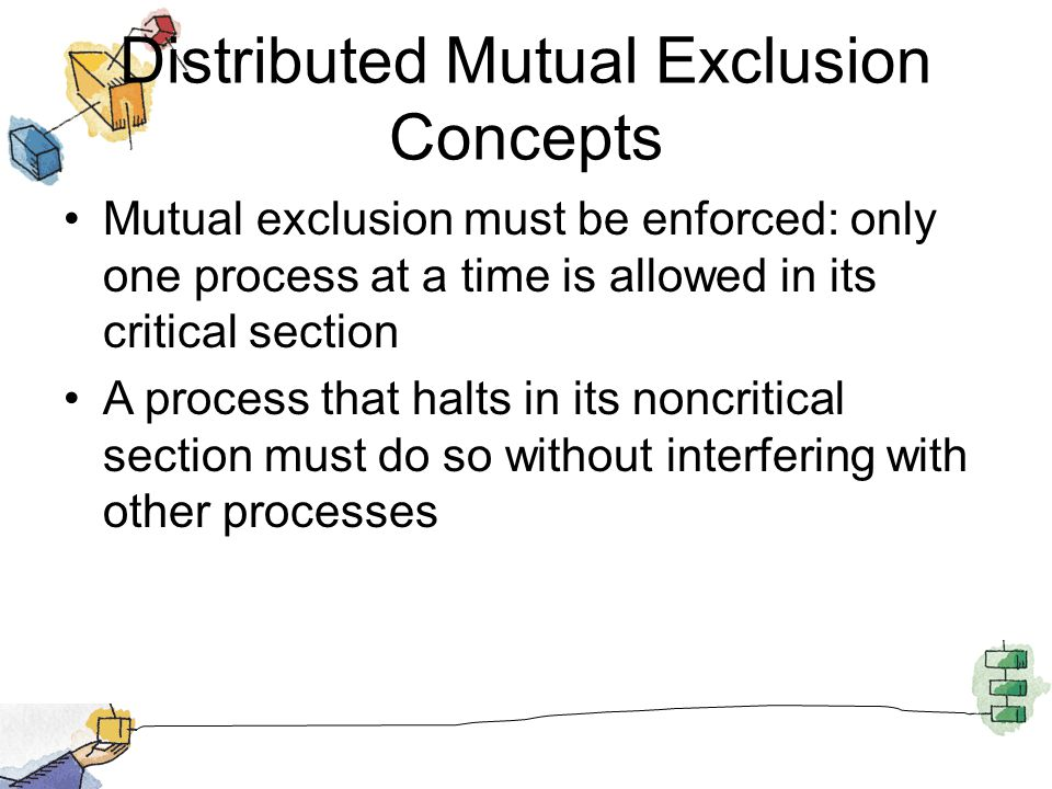 Distributed Mutual Exclusion Concepts Mutual exclusion must be enforced: only one process at a time is allowed in its critical section A process that halts in its noncritical section must do so without interfering with other processes