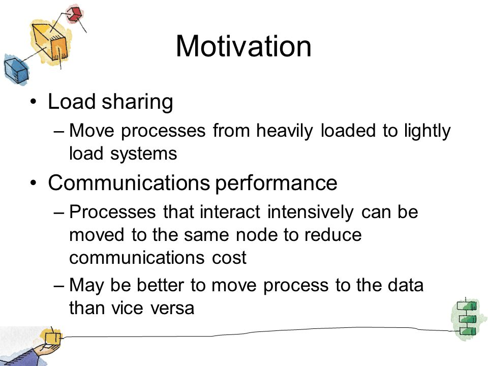 Motivation Load sharing –Move processes from heavily loaded to lightly load systems Communications performance –Processes that interact intensively can be moved to the same node to reduce communications cost –May be better to move process to the data than vice versa
