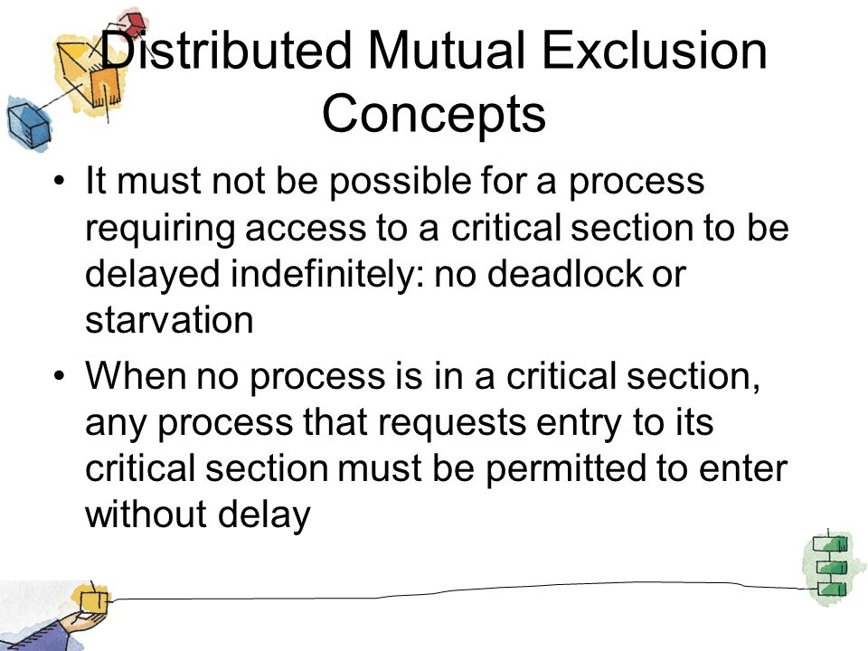 Distributed Mutual Exclusion Concepts It must not be possible for a process requiring access to a critical section to be delayed indefinitely: no dead