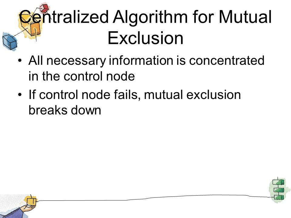 Centralized Algorithm for Mutual Exclusion All necessary information is concentrated in the control node If control node fails, mutual exclusion break