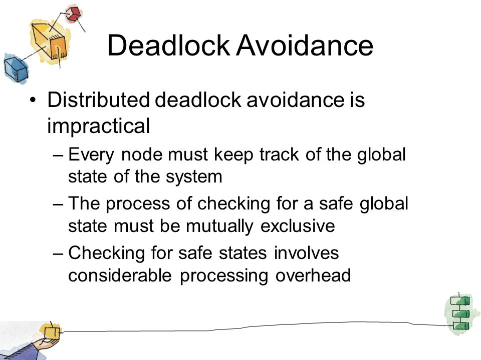 Deadlock Avoidance Distributed deadlock avoidance is impractical –Every node must keep track of the global state of the system –The process of checkin