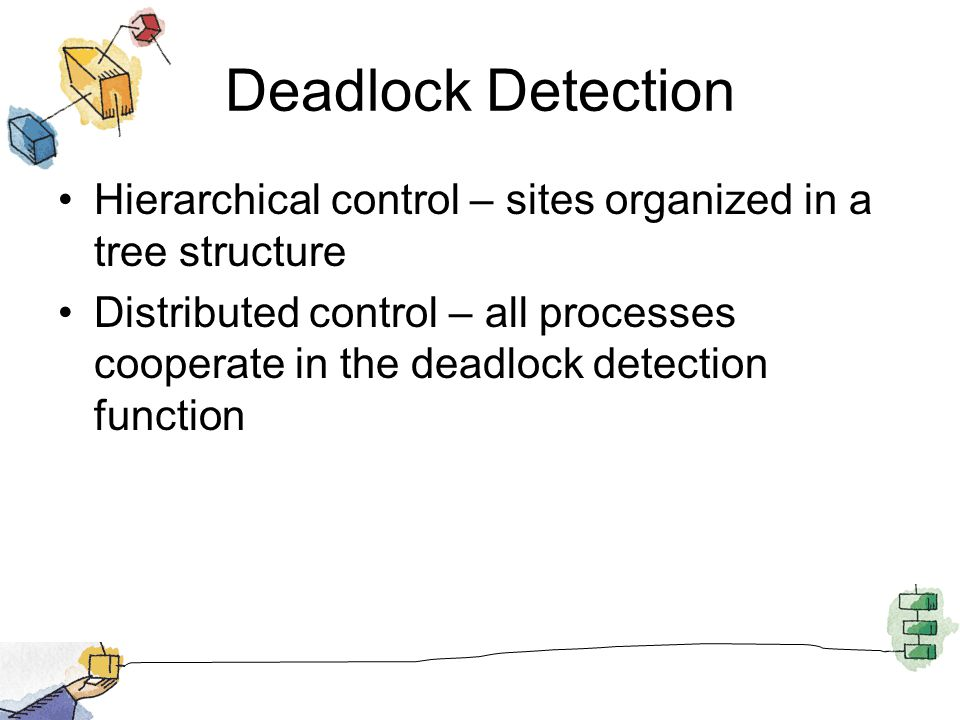 Deadlock Detection Hierarchical control – sites organized in a tree structure Distributed control – all processes cooperate in the deadlock detection function