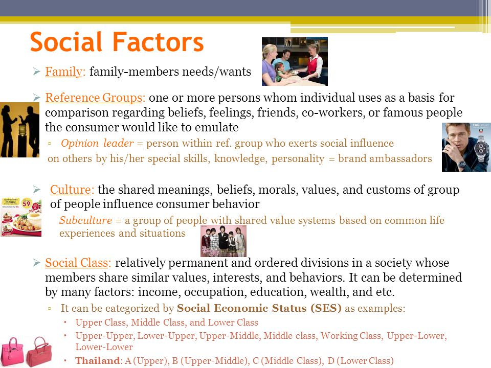 Social Factors  Family: family-members needs/wants  Reference Groups: one or more persons whom individual uses as a basis for comparison regarding beliefs, feelings, friends, co-workers, or famous people the consumer would like to emulate ▫Opinion leader = person within ref.