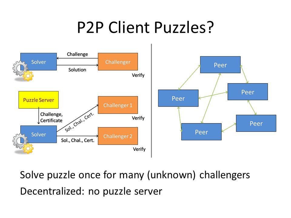 P2P Client Puzzles? Solve puzzle once for many (unknown) challengers Decentralized: no puzzle server