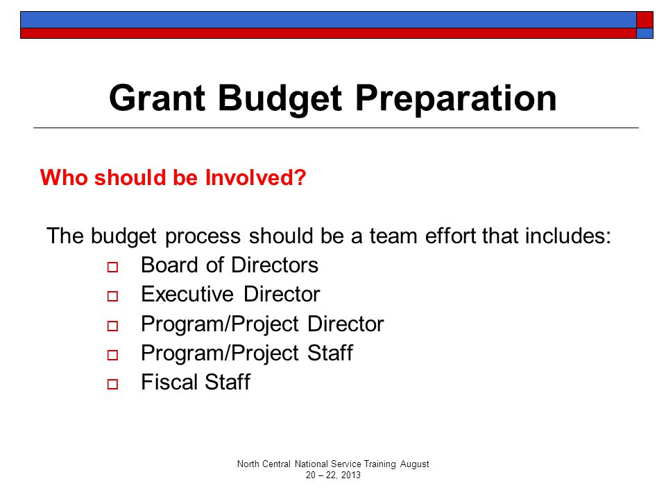 Grant Budget Preparation Who should be Involved? The budget process should be a team effort that includes:  Board of Directors  Executive Director 