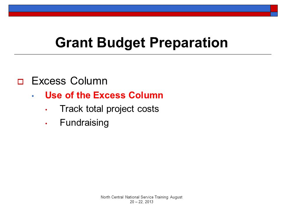 Grant Budget Preparation  Excess Column Use of the Excess Column Track total project costs Fundraising North Central National Service Training August
