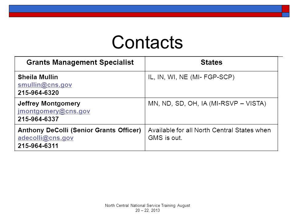 Contacts Grants Management SpecialistStates Sheila Mullin smullin@cns.gov 215-964-6320 IL, IN, WI, NE (MI- FGP-SCP) Jeffrey Montgomery jmontgomery@cns