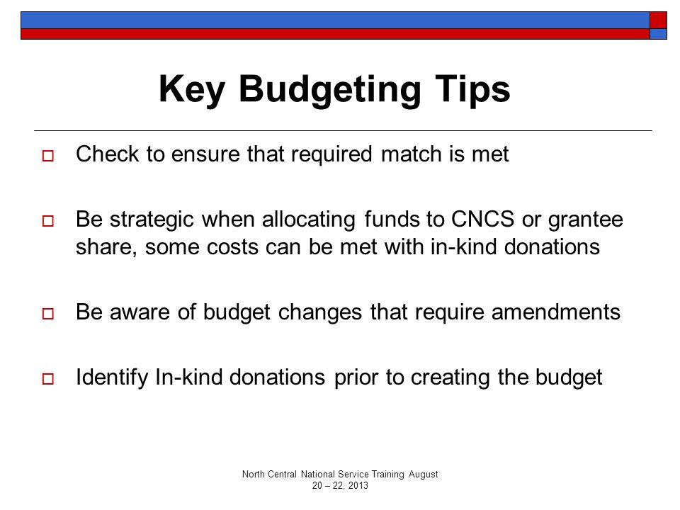 Key Budgeting Tips  Check to ensure that required match is met  Be strategic when allocating funds to CNCS or grantee share, some costs can be met w