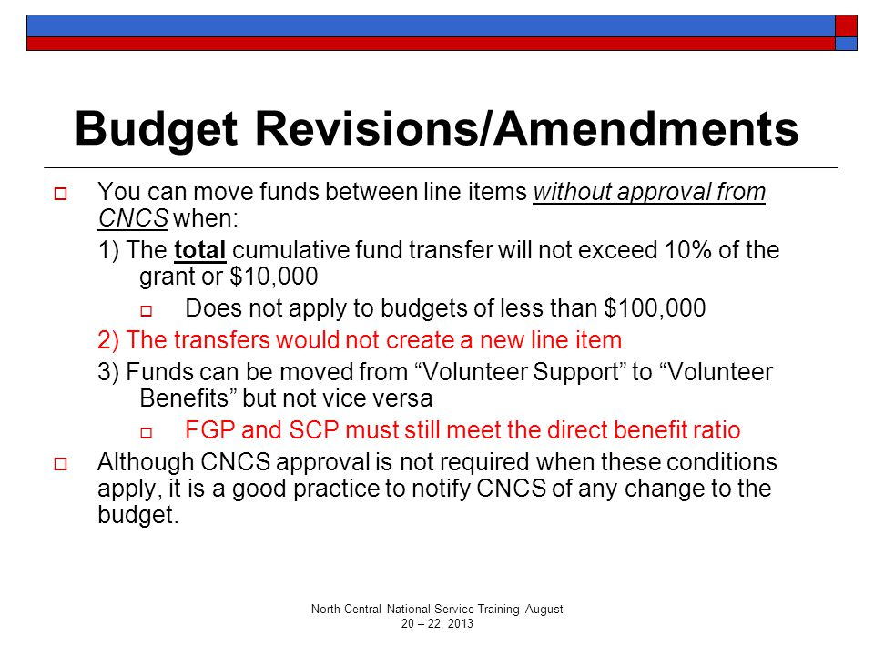 Budget Revisions/Amendments  You can move funds between line items without approval from CNCS when: 1) The total cumulative fund transfer will not ex