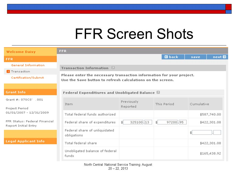 FFR Screen Shots North Central National Service Training August 20 – 22, 2013