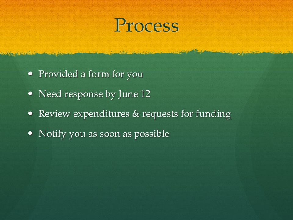 Process Provided a form for you Provided a form for you Need response by June 12 Need response by June 12 Review expenditures & requests for funding Review expenditures & requests for funding Notify you as soon as possible Notify you as soon as possible