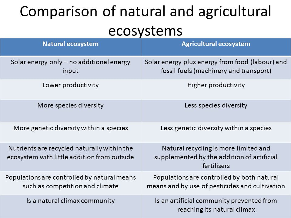 Comparison of natural and agricultural ecosystems The two basic differences are: – Energy input – Productivity
