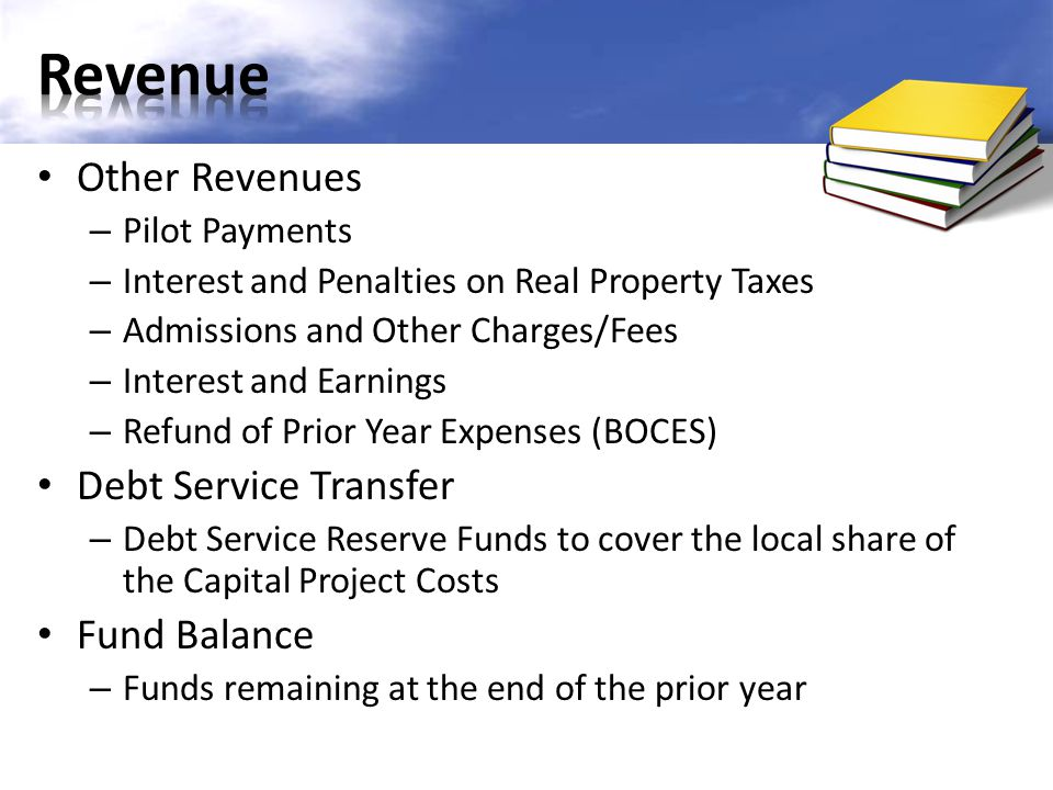 Other Revenues – Pilot Payments – Interest and Penalties on Real Property Taxes – Admissions and Other Charges/Fees – Interest and Earnings – Refund of Prior Year Expenses (BOCES) Debt Service Transfer – Debt Service Reserve Funds to cover the local share of the Capital Project Costs Fund Balance – Funds remaining at the end of the prior year