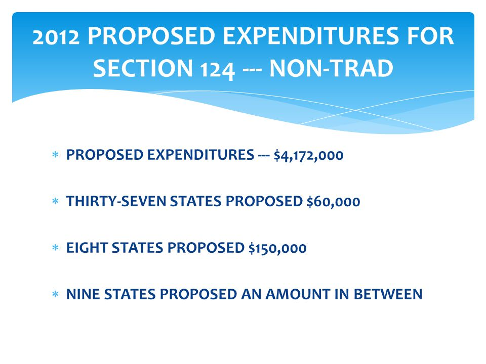  PROPOSED EXPENDITURES --- $4,172,000  THIRTY-SEVEN STATES PROPOSED $60,000  EIGHT STATES PROPOSED $150,000  NINE STATES PROPOSED AN AMOUNT IN BETWEEN 2012 PROPOSED EXPENDITURES FOR SECTION 124 --- NON-TRAD