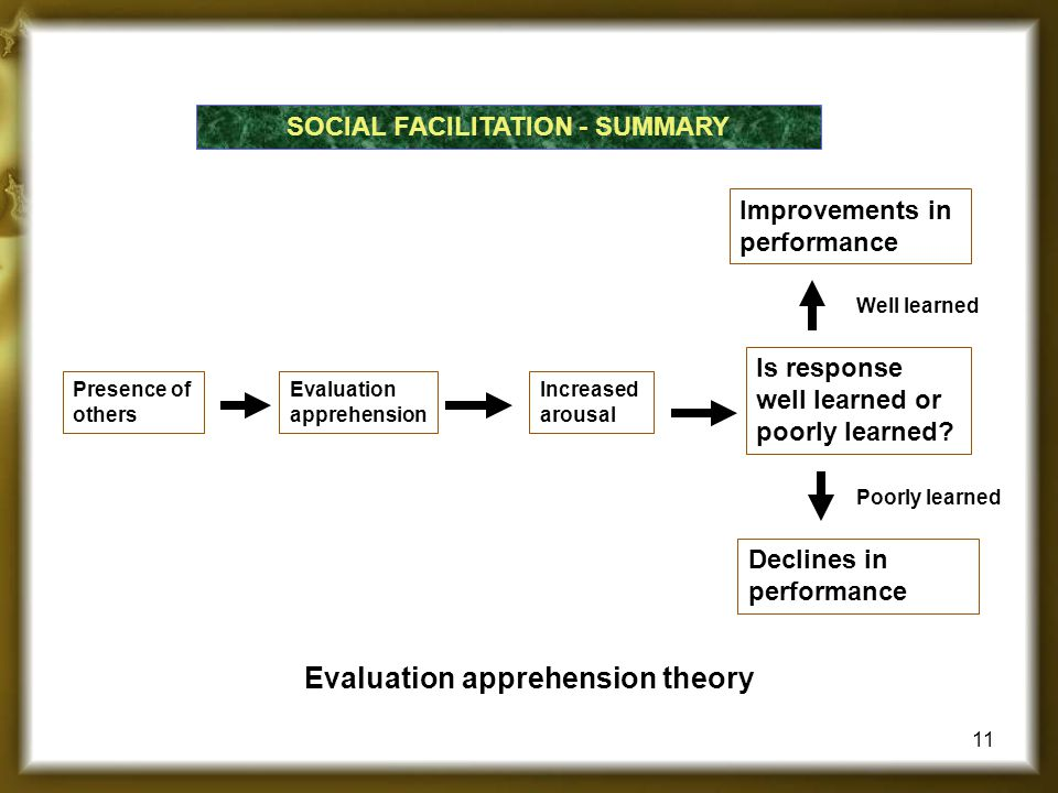 SOCIAL FACILITATION - SUMMARY Presence of others Evaluation apprehension Improvements in performance Is response well learned or poorly learned? Well