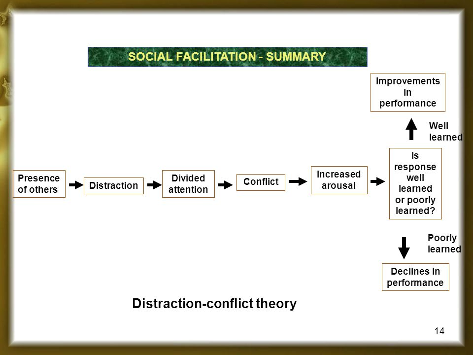 SOCIAL FACILITATION - SUMMARY Presence of others Increased arousal Improvements in performance Is response well learned or poorly learned? Well learne