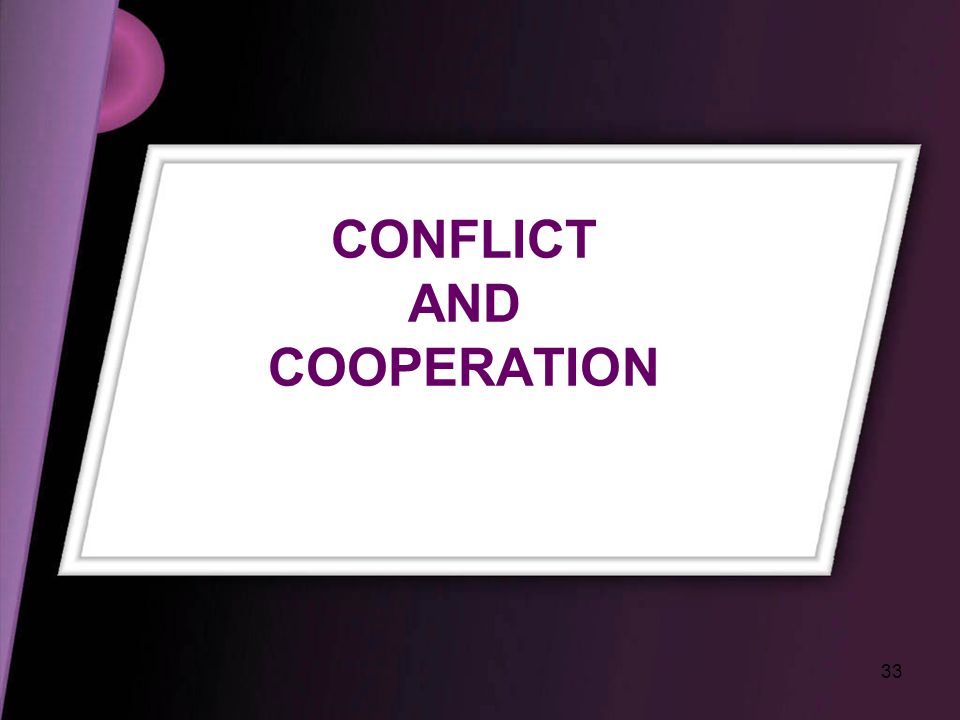 33 CONFLICT AND COOPERATION