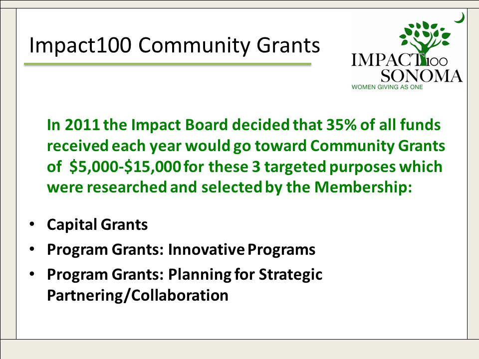 www.impact100sonoma.org11 Impact100 Community Grants In 2011 the Impact Board decided that 35% of all funds received each year would go toward Community Grants of $5,000-$15,000 for these 3 targeted purposes which were researched and selected by the Membership: Capital Grants Program Grants: Innovative Programs Program Grants: Planning for Strategic Partnering/Collaboration