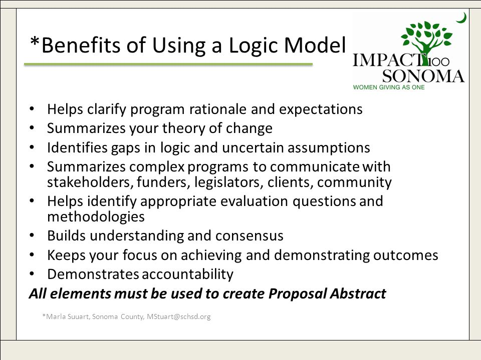 *Marla Suuart, Sonoma County, MStuart@schsd.org 31 *Benefits of Using a Logic Model Helps clarify program rationale and expectations Summarizes your theory of change Identifies gaps in logic and uncertain assumptions Summarizes complex programs to communicate with stakeholders, funders, legislators, clients, community Helps identify appropriate evaluation questions and methodologies Builds understanding and consensus Keeps your focus on achieving and demonstrating outcomes Demonstrates accountability All elements must be used to create Proposal Abstract