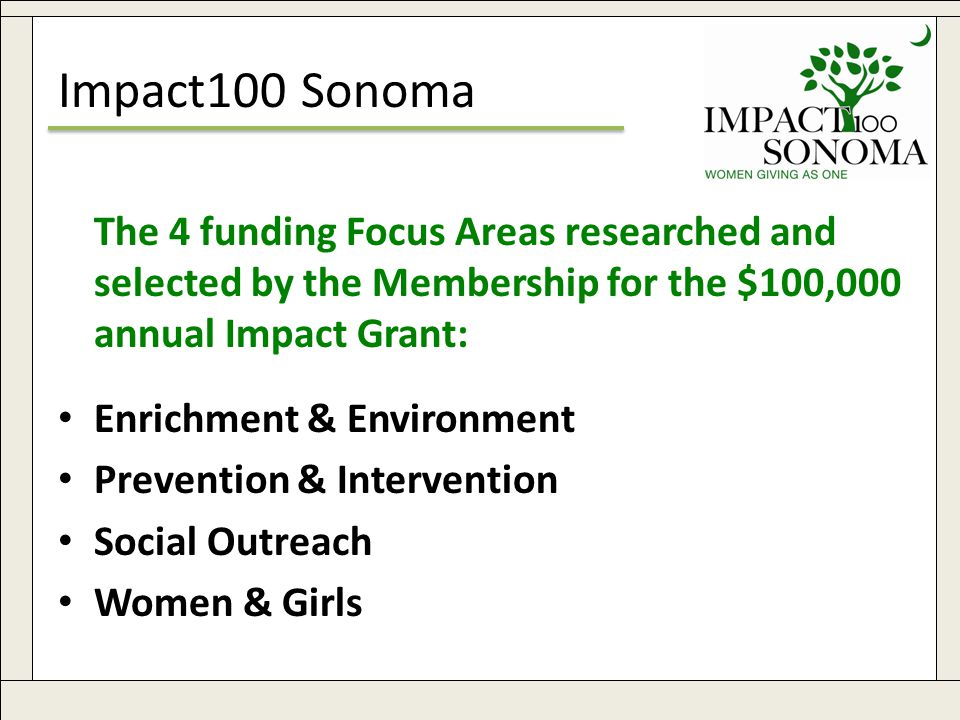 www.impact100sonoma.org5 Impact100 Sonoma The 4 funding Focus Areas researched and selected by the Membership for the $100,000 annual Impact Grant: Enrichment & Environment Prevention & Intervention Social Outreach Women & Girls
