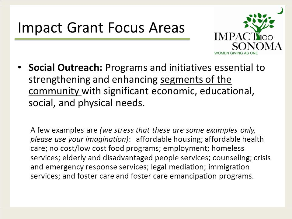 www.impact100sonoma.org8 Impact Grant Focus Areas Social Outreach: Programs and initiatives essential to strengthening and enhancing segments of the community with significant economic, educational, social, and physical needs.