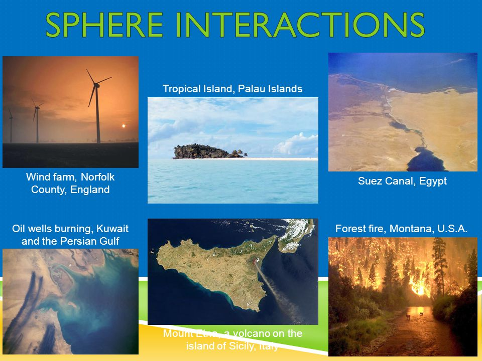 Wind farm, Norfolk County, England Oil wells burning, Kuwait and the Persian Gulf Tropical Island, Palau Islands Mount Etna, a volcano on the island o
