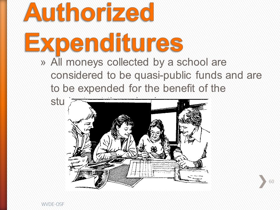 »All moneys collected by a school are considered to be quasi-public funds and are to be expended for the benefit of the students at the school 60 WVDE-OSF