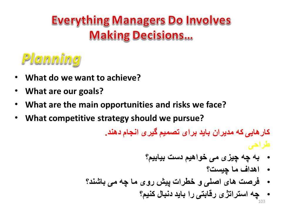 What do we want to achieve.What are our goals. What are the main opportunities and risks we face.