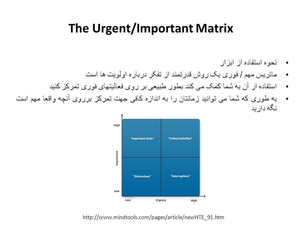 The Urgent/Important Matrix نحوه استفاده از ابزار ماتریس مهم / فوری یک روش قدرتمند از تفکر درباره اولویت ها است استفاده ار آن به شما کمک می کند بطور ط