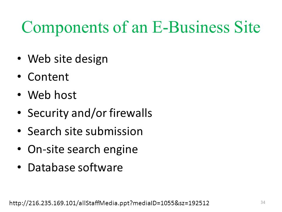 Components of an E-Business Site Web site design Content Web host Security and/or firewalls Search site submission On-site search engine Database software http://216.235.169.101/allStaffMedia.ppt?mediaID=1055&sz=192512 34