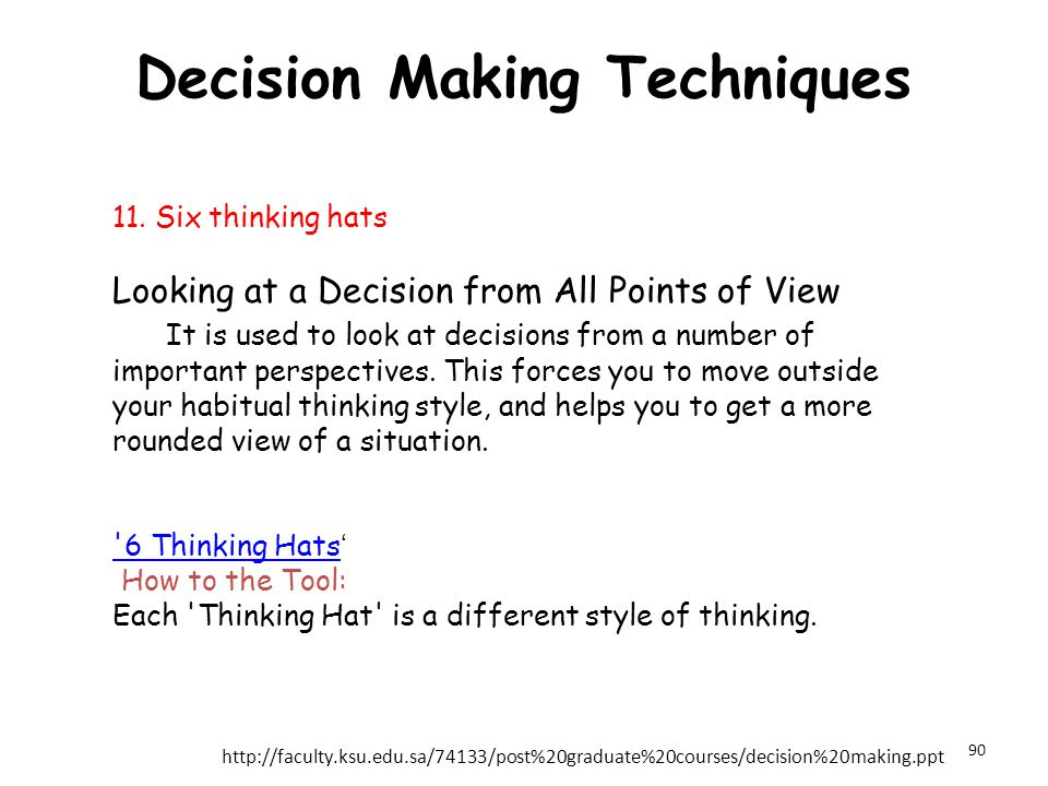 Decision Making Techniques 11. Six thinking hats Looking at a Decision from All Points of View It is used to look at decisions from a number of import