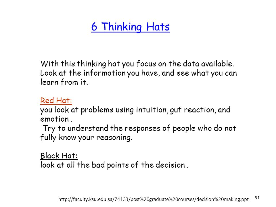 6 Thinking Hats White Hat: With this thinking hat you focus on the data available.