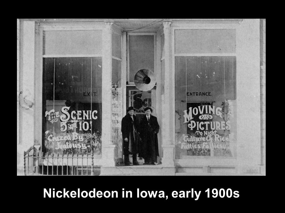 Nickelodeon in Iowa, early 1900s