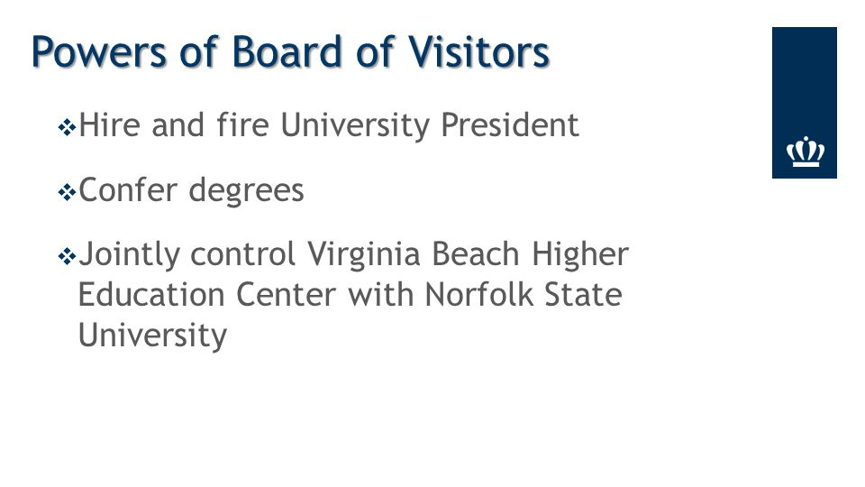  Hire and fire University President  Confer degrees  Jointly control Virginia Beach Higher Education Center with Norfolk State University Powers of