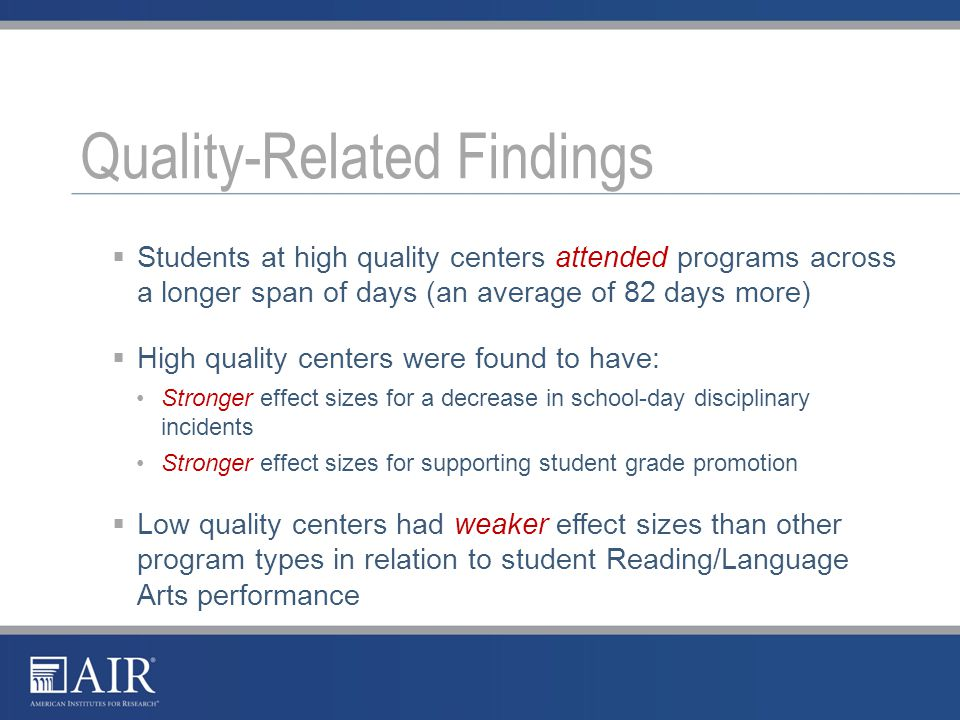 Where we need to go: Further understand the relationship between quality and outcomes Find ways to demonstrate performance without the need to expend the resources necessary to perform full impact studies Develop the infrastructure needed to make the population of key performance indicators as efficient and routine as possible Explore how afterschool programs are impacting youth skills and beliefs Looking Ahead 5