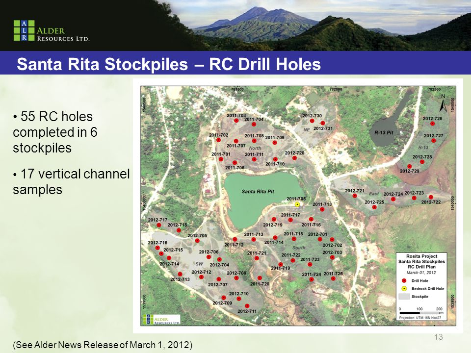 Santa Rita Stockpiles – RC Drill Holes 55 RC holes completed in 6 stockpiles 17 vertical channel samples (See Alder News Release of March 1, 2012) 13