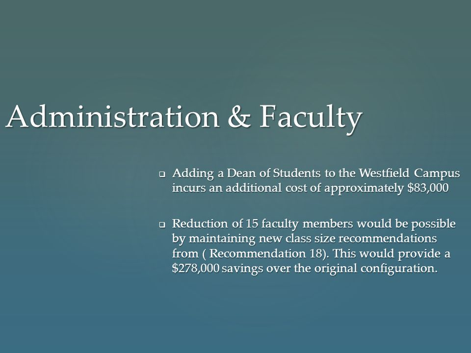Administration & Faculty  Adding a Dean of Students to the Westfield Campus incurs an additional cost of approximately $83,000  Reduction of 15 facu